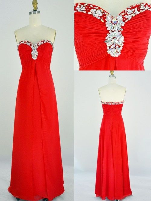 Prom Dress, Red Sweetheart Chiffon Beadings Prom Dresses