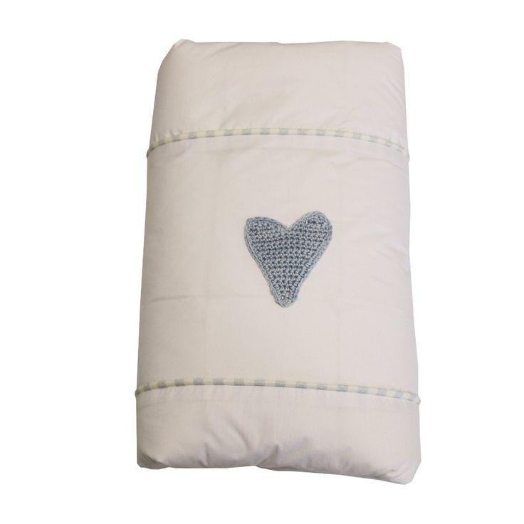 Pin Dot Blue Hand Crocheted Heart - Duvet Cover