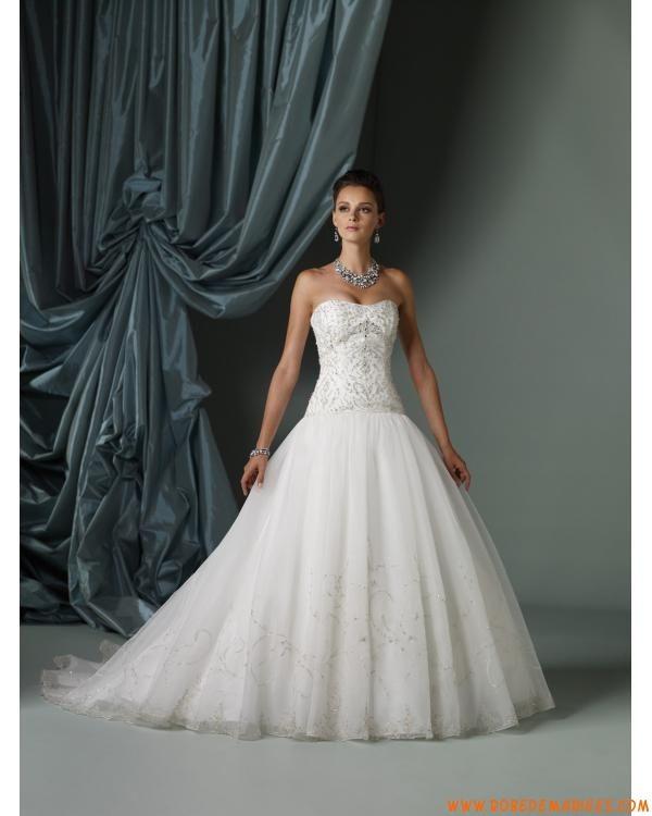 Robe de mariée bustier satin organza