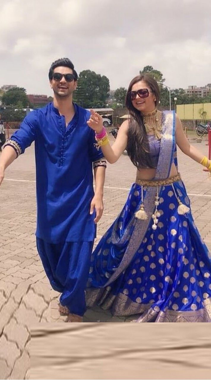 Royal Blue Silk Single Color Couple Dress