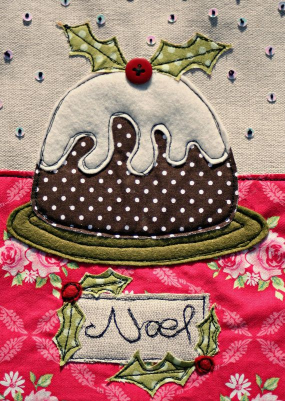 SALE ITEM*************An embroidered and appliqued Christmas card - Christmas Pudding