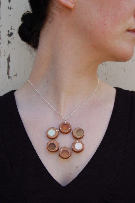 6 circle lichen necklace $75