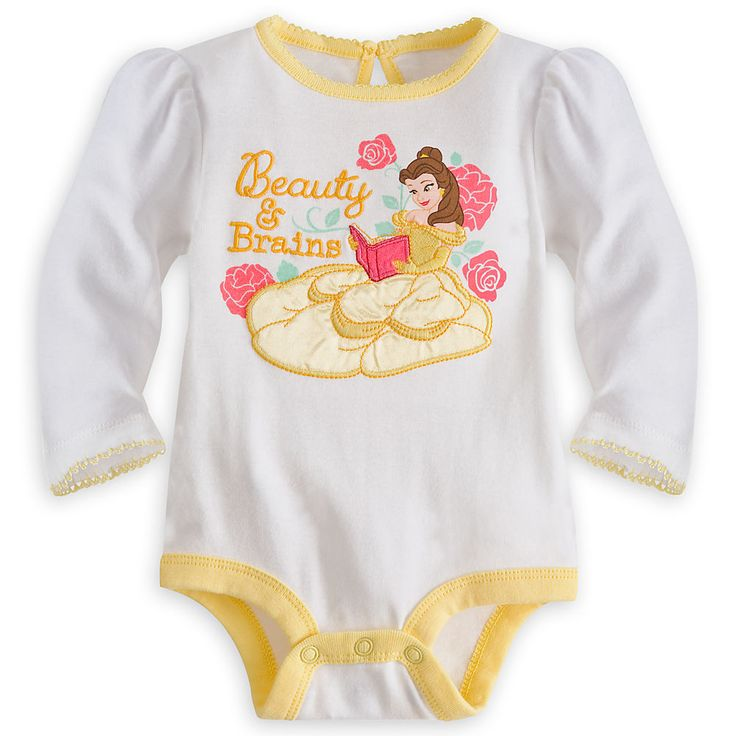 Belle Long Sleeve Disney Cuddly Bodysuit For Baby Girls