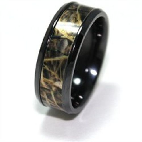 Amazon.com: Mens & Womens Camo Engagement Wedding Rings Set Silver ...