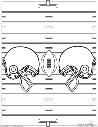 first grade sports worksheets color the football helmets