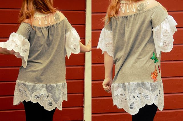VillaNanna: T-paidasta ja pitsiverhosta tunika-Matka dinojen maailmaan