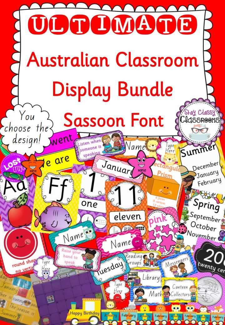The ULTIMATE DISPLAY BUNDLE for your classroom in SASSOON FONT! Perfect for Year 1-2 this font matches the THRASS system. It includes everything that you will need to make your walls educational and super cute! Absolutely perfect for beginning teachers, anyone moving year levels or anyone looking for fresh new look for their classroom! $35! http://designedbyteachers.com.au/marketplace/ultimate-classroom-display-bundle-sassoon-font/