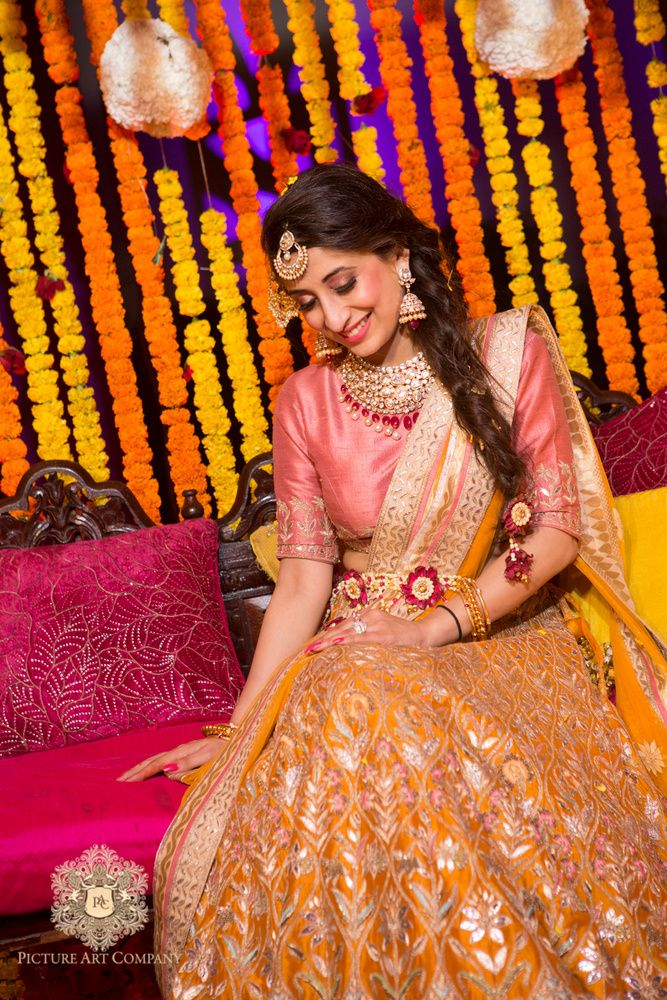 Sangeet Lehengas - Pink Blouse and Orange Lehenga | WedMeGood | Orange Lehenga with Gotta Work, Pink Blouse and Orange Dupatta with Silver Border, Diamond and Ruby Jewlery