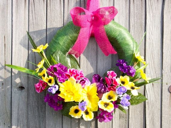 Summer wreath Spring wreath  with spring flowers green by Kreacje