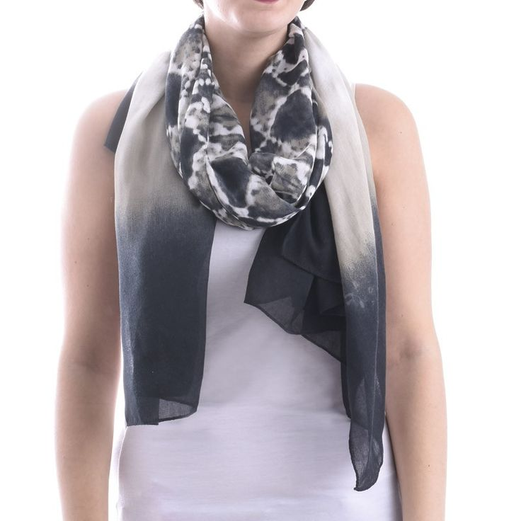 SCARF/PAREO GREY-BLACK TIE DIE - Scarfs/Sun Dresses