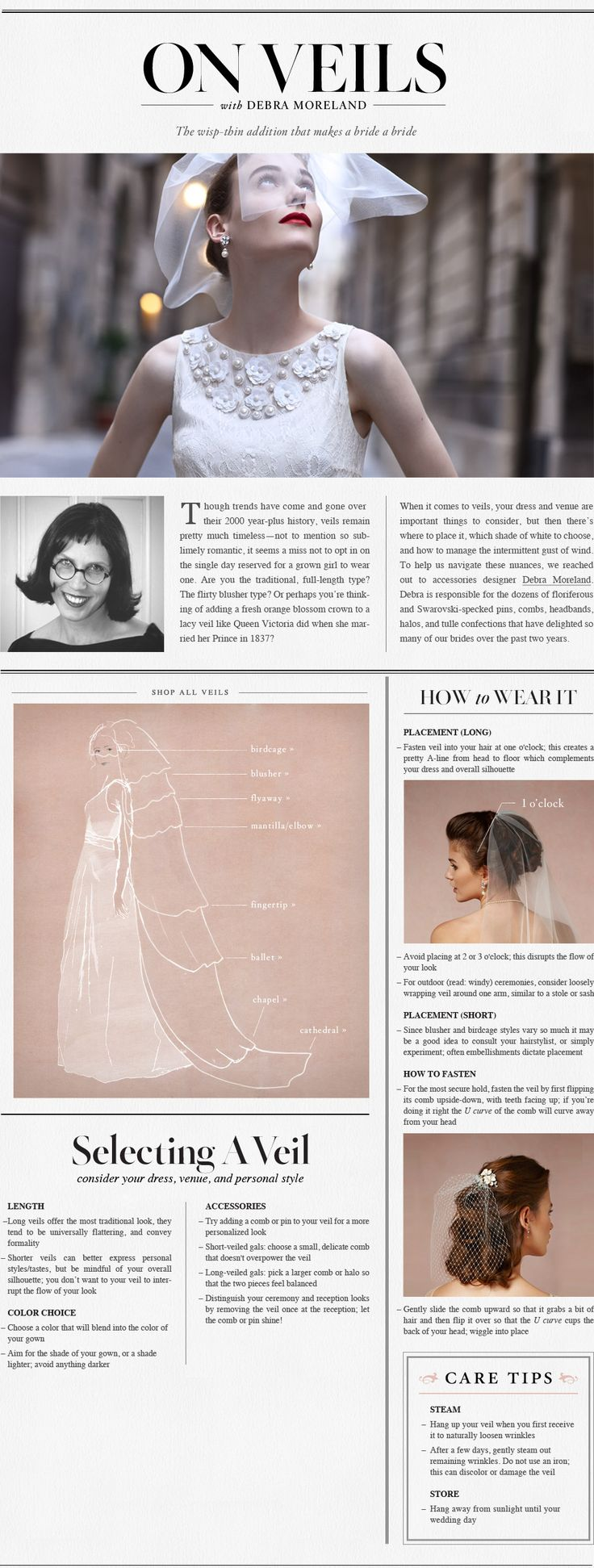 Great Advice From Paris by Debra Moreland On How To Shop For Your Wedding Veil   On Veils | B-Inspired | BHLDN