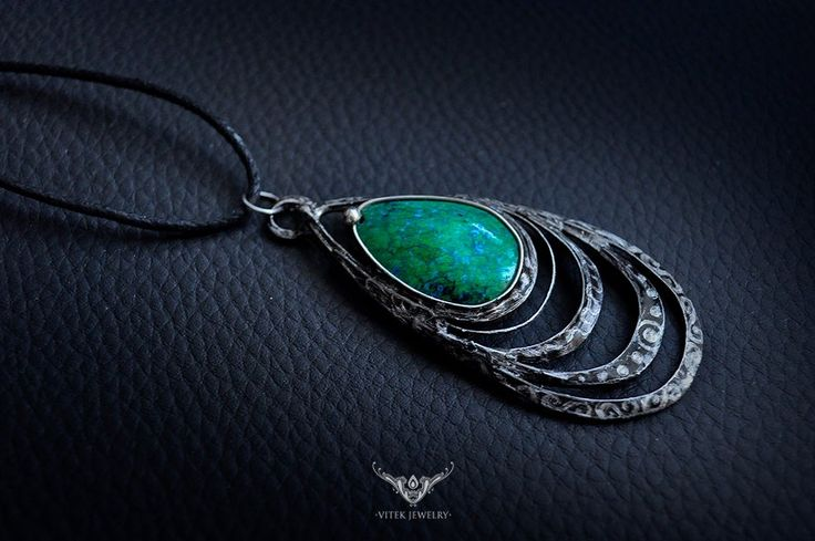 Medeina - pendant necklace with green chrysocolla. by Vitek Jewelry