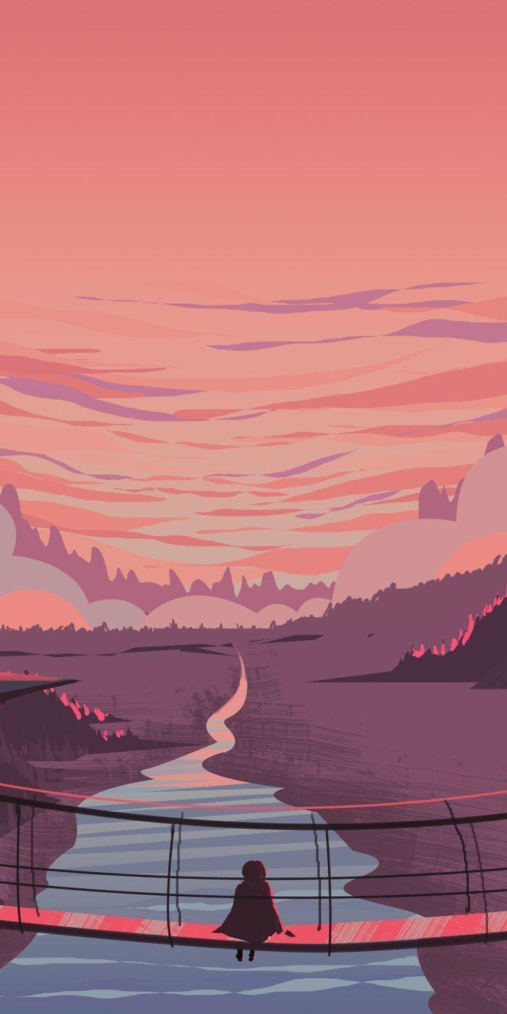 Pink Landscape Digital Art Em 2020 Papel De Parede De Arte Ilustracao De Paisagem Wallpaper Pastel