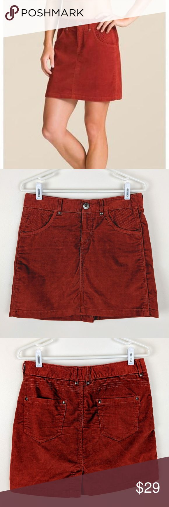 """Athleta Kaleidoscope Cord Mini Skirt in Red Spice Athleta kaleidoscope cord mini skirt in red spice. Tie on the inside waist. The color is a red orange and most like picture 7. About 15.5"""" waist to hem, 15"""" across waist; laid flat, and 18"""" across hips; laid flat. No trades! EUC A26 Athleta Skirts Mini"""