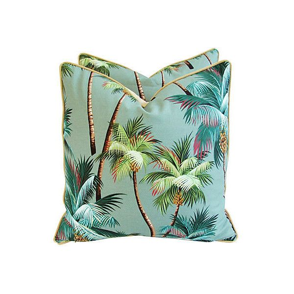 Pre-Owned Tropical Coconut Palm Tree Pillows Pair ($349) ❤ liked on Polyvore featuring home, home decor, throw pillows and rose throw pillow