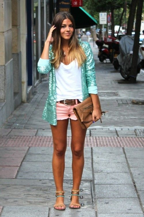 Sparkle Mint Green Cardigan, white v neck & light pink denim shorts