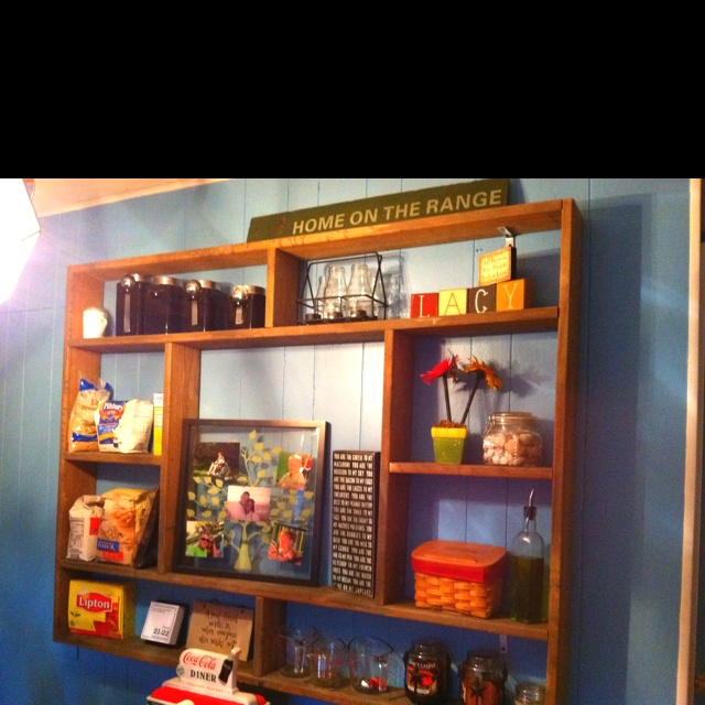 DIY wall shelving! This was made out of old fence board we had in our barn! Took only 2 hours to configure and make.