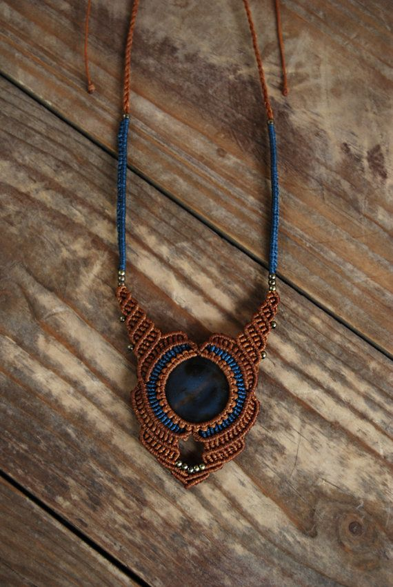 macrame pendant with Brown Carnelian stone & by MitosKnitwear