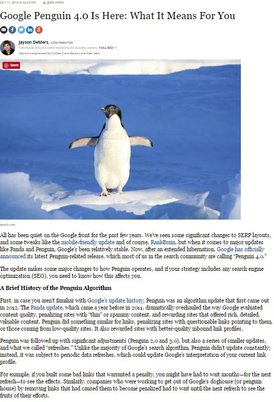 Forbes has produced a good article covering the penguin update. Anyone seeing any effects of the update? #penguinupdate #SEO