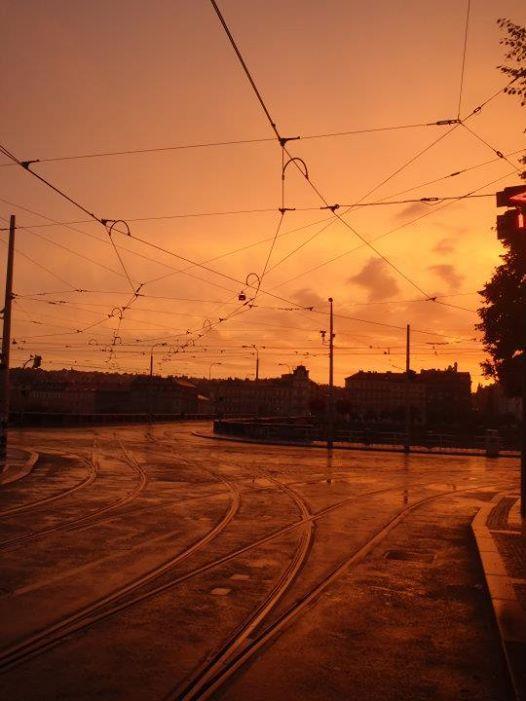 summer sunset in Prague