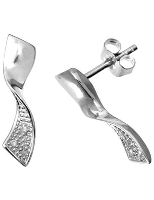 Naava Women's 9 ct White Gold Diamond Twist Earrings