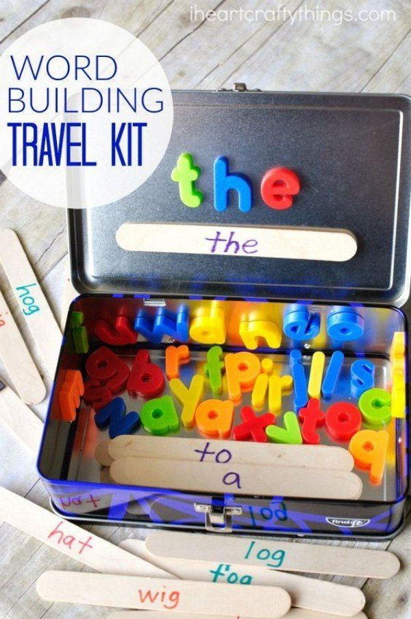 Fill a metal lunch box with alphabet magnets and have your child build words on the lid. It's educational and fun. Best of all, it encourages quiet time.