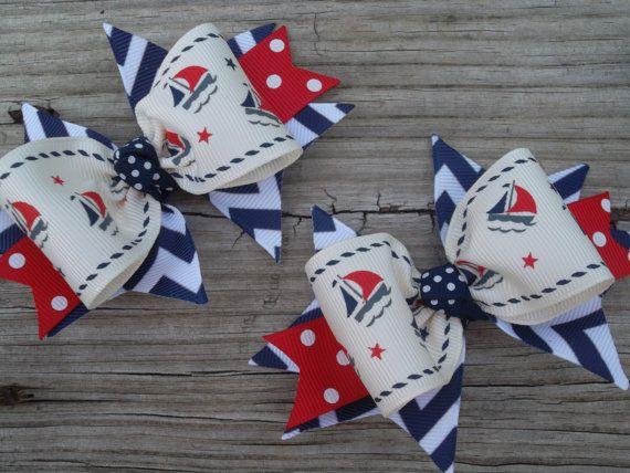 Baby Sailor Bows Sailboat Ribbon Nautical от ransomletterhandmade