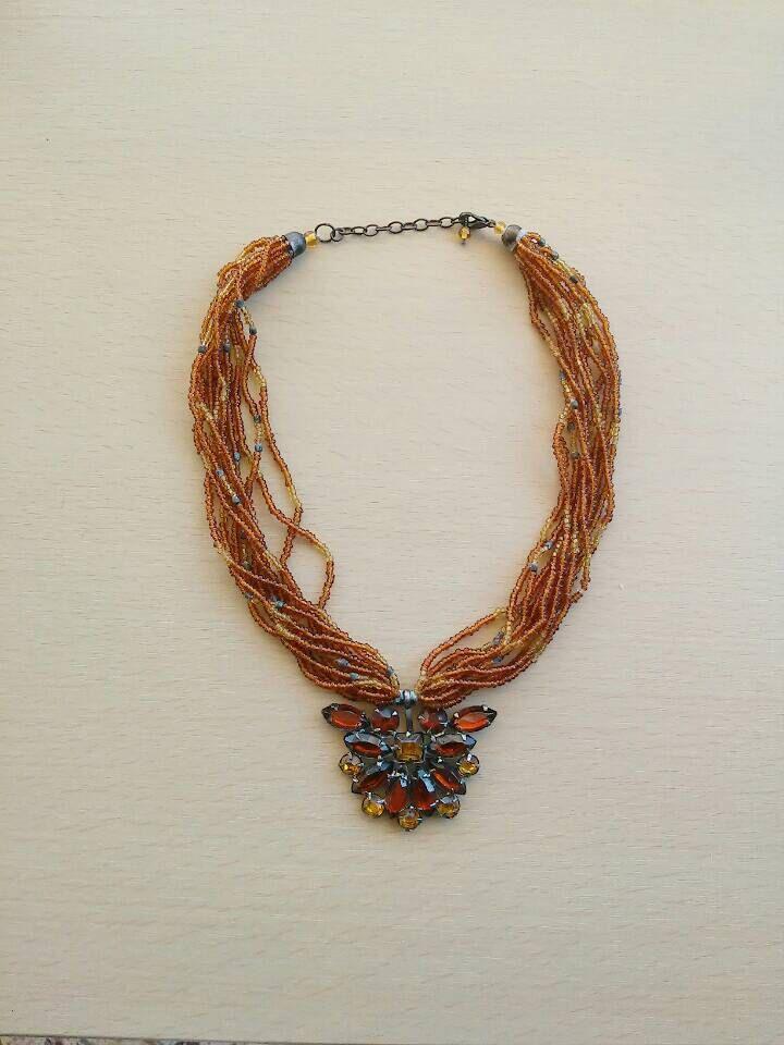 Gift necklace/ boho christmas necklace/ boho necklace / boho beaded necklace/ christmas gift/ bohemian brown necklace/christmas jewelry by Bohoqueenstyle on Etsy