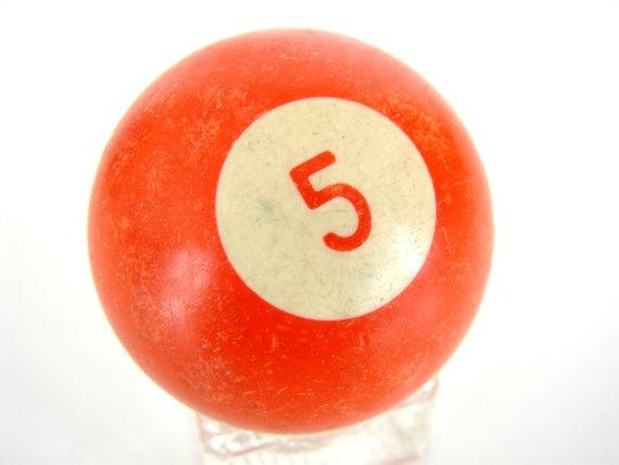 Vintage Solid Orange 5 Pool Ball / Billiard Ball with Orange Numbe