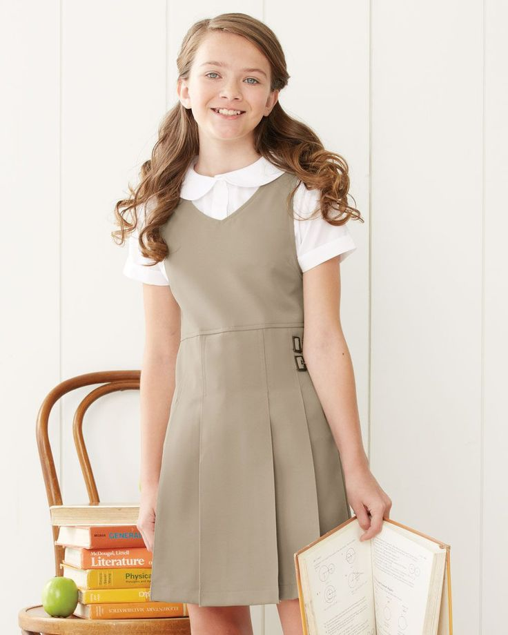 French Toast Girls' Twin Buckle Tab Jumper Dress School Uniform Y9075 #BackToSchool
