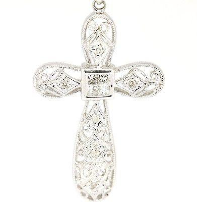 Vintage 14k & 18k White Gold SI2, G-I, 0.20tcw Milgrain Diamond Cross Necklace