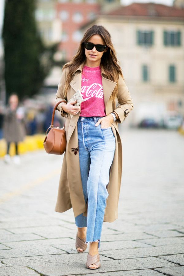 - Dress up a vintage tee and jeans with a tailored trench.