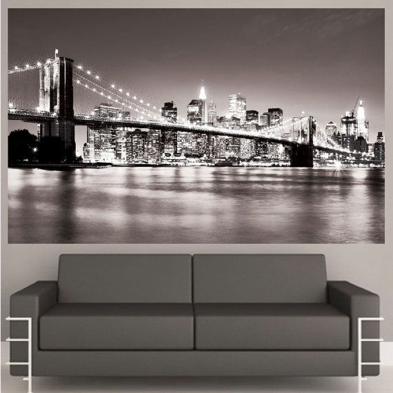 Best 25 new york bedroom ideas on pinterest city for Brooklyn bridge black and white wall mural