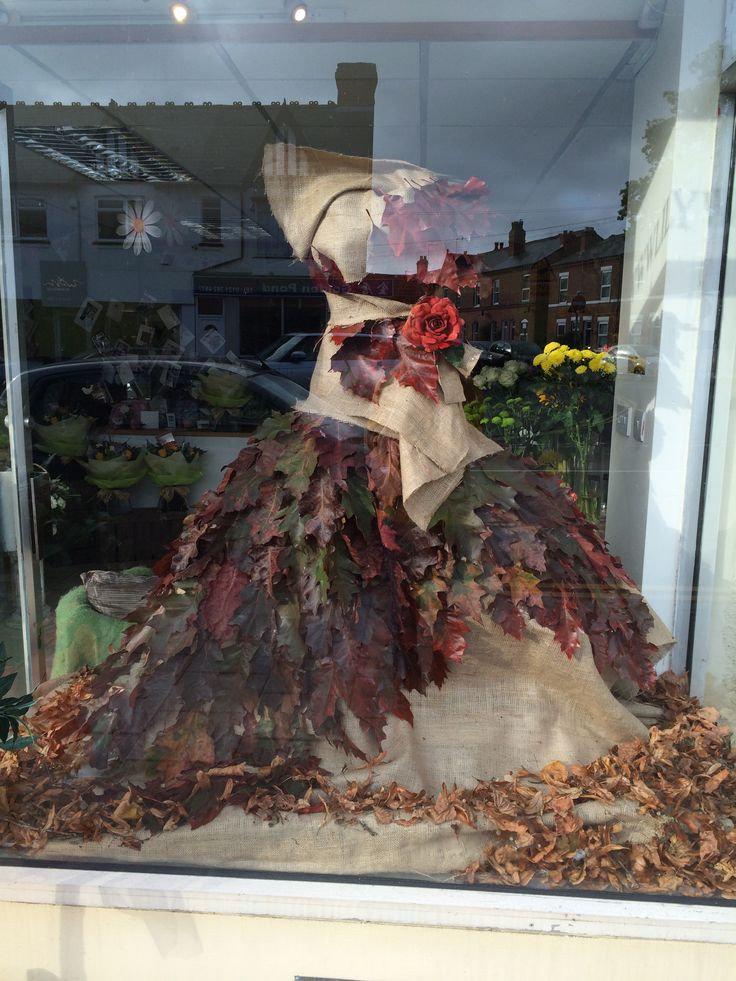 #Florist Window Display #Autumn leaves inspired Flower Dress #Creative Flower Display created by Lily White Florist  www.lilywhiteflorist.co.uk