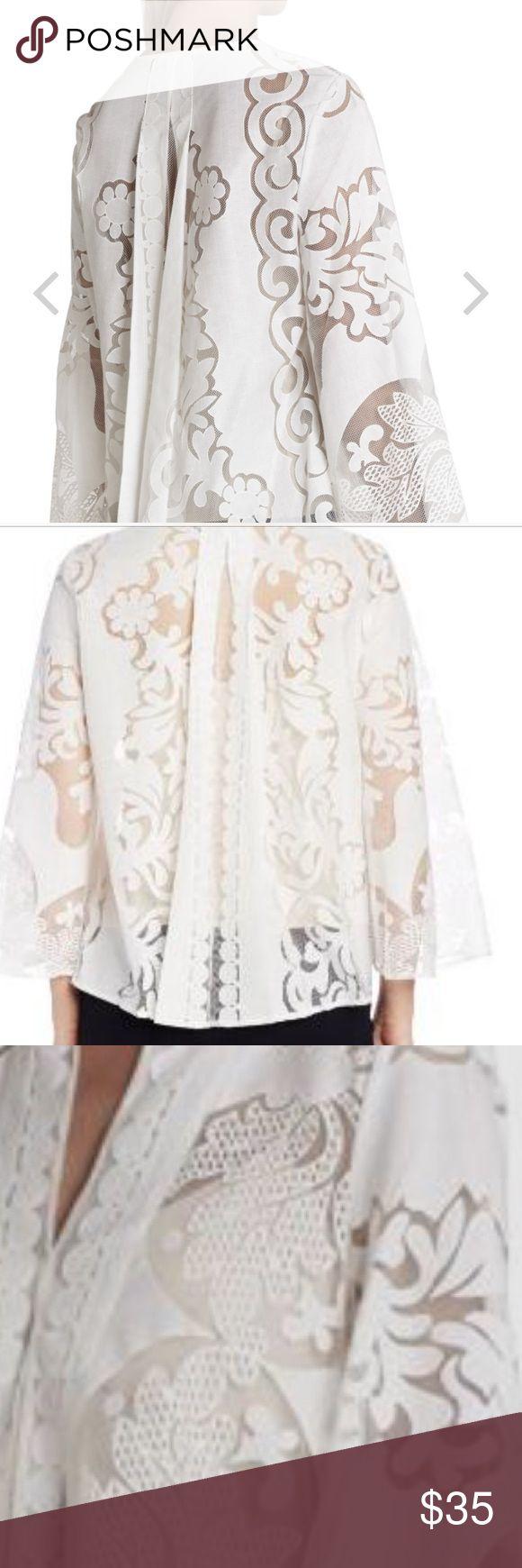 BCBG Milou top Worn once. Size small. Nude vest underlay. Beautiful feminine piece. BCBG Tops