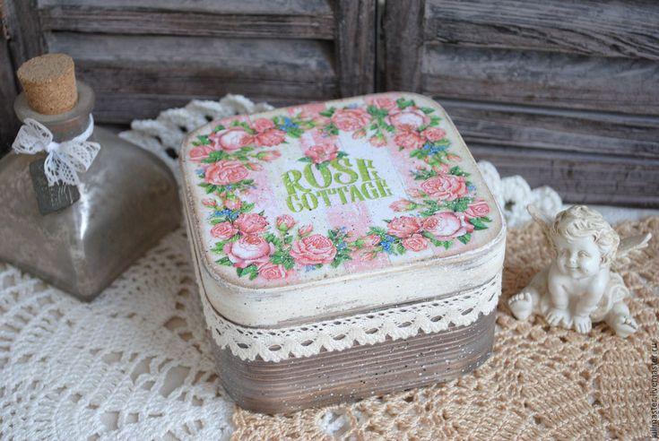 """Купить Шкатулка """"Rose cottage"""" для украшений бижутерии декупаж - шкатулка, шкатулка для украшений, шкатулка для рукоделия"""