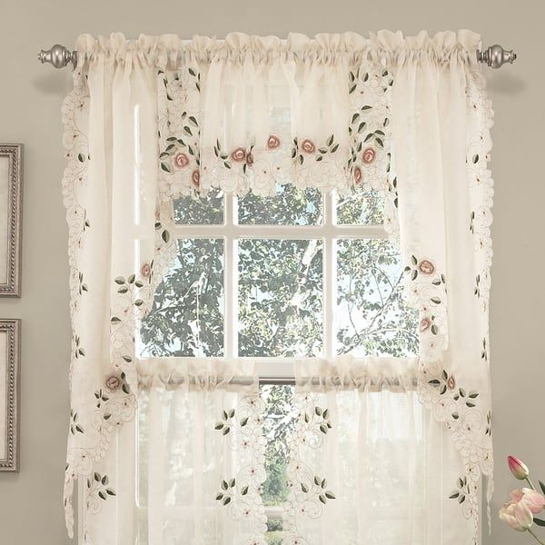 Old World Floral Embroidered Sheer Kitchen Curtain Parts Tiers Swags And Valances In 2020 Curtains Sweet Home Collection Kitchen Curtains