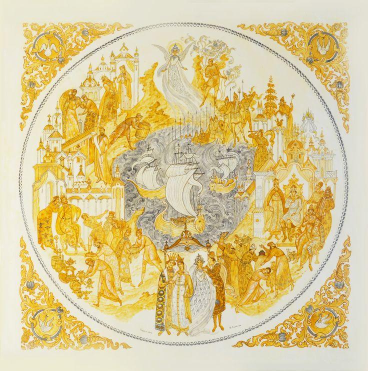 панно сказка о царе салтане 2014г.50 х 50 см эскиз