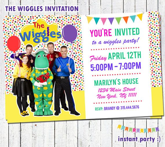 The Wiggles Birthday Invitation New Girl by instantparty on Etsy