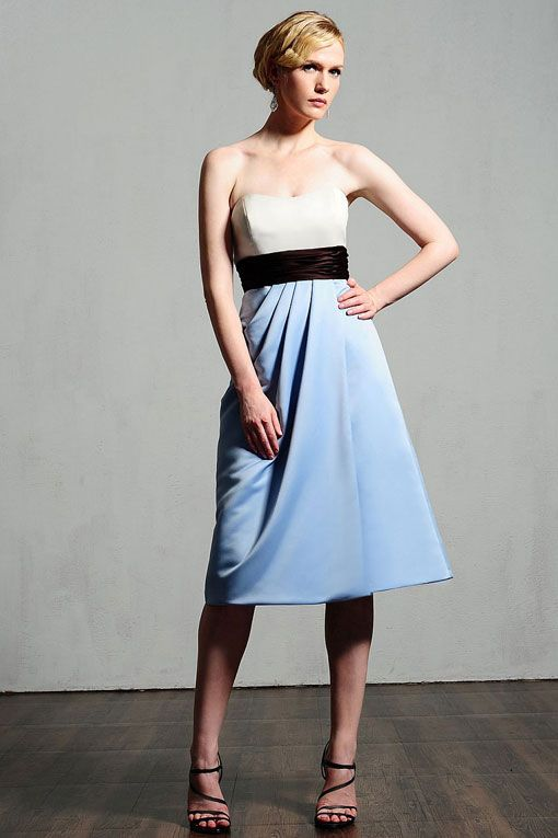 Strapless satin bridesmaid dress with empire waist=