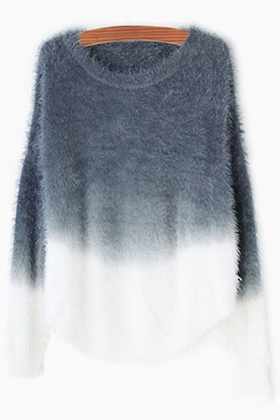 Loose-Fitting Ombre Color Sweater