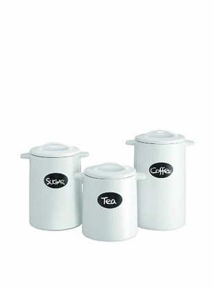 57% OFF American Atelier Set of 3 Canisters (Chalkboard White)