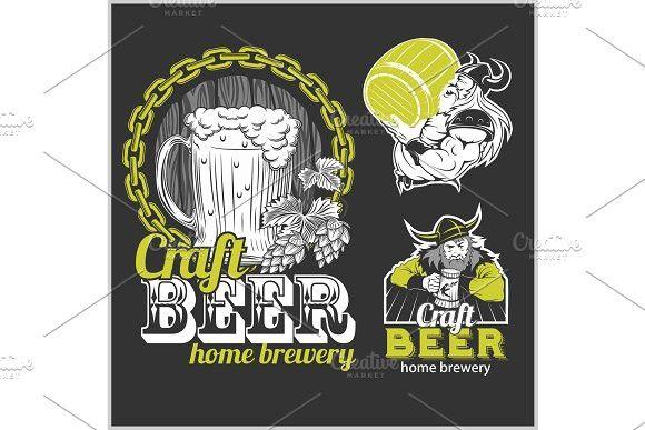 Set Craft Beer And Vikings Logo Vector Illustration Viking Logo Vector Logo Brewery Design