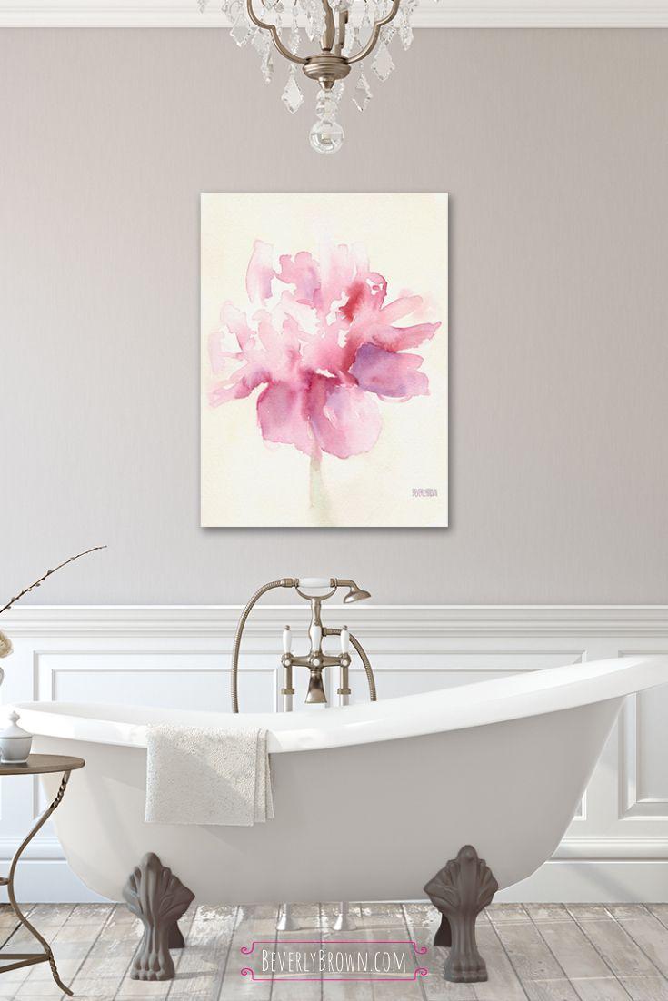 Pink Peony Watercolor Wall Art Prints Beverly Brown Artist Bathroom Artwork Farmhouse Bathroom Art Greige Bathroom