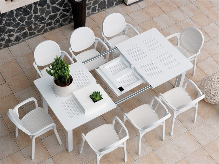 Tavolo da giardino allungabile rettangolare in polipropilene LEVANTE - Nardi: levante bianco con sedia gemma