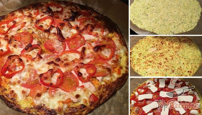 Cukkinis, liszt nélküli pizza mozzarellával
