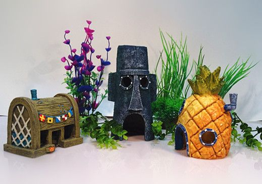 Fish Tank Ornaments Set of 3 Pineapple House & Squidward Easter Island & Krusty Krab