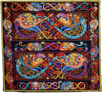 Animal Fayre Tapestry - Celtic Peacocks