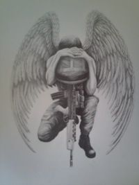 Memorial Army Equipment With Soldier Tattoo Design