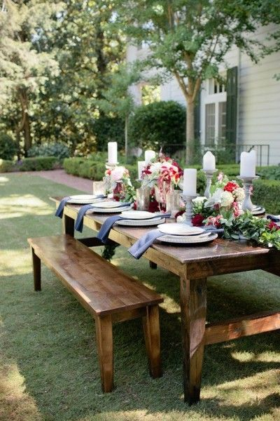 Formal and informal beautiful outdoor tablescape !!